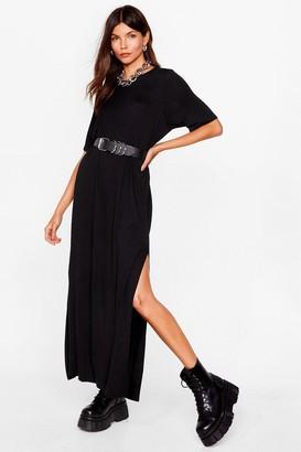 Nasty Gal Womens Split Decision Maxi Tee Dress - Black - 4