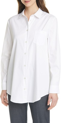 Emporio Armani Ruched Back Stretch Cotton Poplin Long Sleeve Blouse