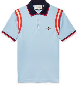 Gucci Appliqued Striped Cotton-Blend Pique Polo Shirt