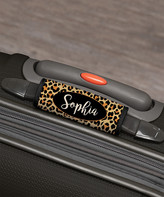 Personalized Planet Luggage Tags - Brown & Black Leopard Personalized Luggage Handle Wrap