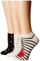 Kate Spade 3-Pack Cherry No Show Socks Women's No Show Socks Shoes