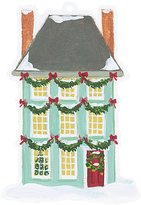 Caspari Set of Four Die-Cut Gift Tags with Gold Cord, Decorated Houses
