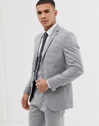 Selected slim fit suit jacket with stretch in light gray