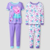 Peppa Pig Toddler Girls' ; Snug Fit 4-Piece Cotton Pajama Set - Purple