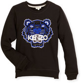 Kenzo Cotton Logo Pullover Sweatshirt, Black, Size 8-12