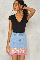 Nasty Gal nastygal One Week Last Summer Embroidered Denim Skirt