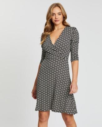 Dorothy Perkins Floral Geometric Puff Sleeve Wrap Dress
