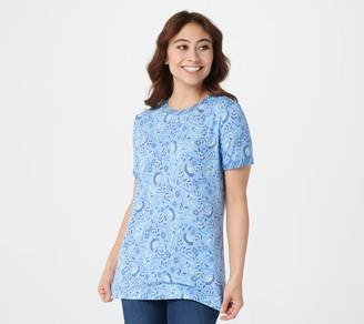 Isaac Mizrahi Live! TRUE DENIM Floral T-Shirt with Contrast Sleeve