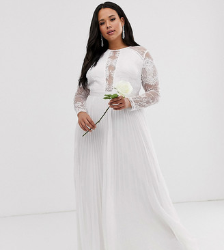 Asos Edition EDITION Curve long sleeve lace bodice maxi wedding dress with pleated skirt-White