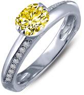 Lafonn Micro Pave Simulated Diamond & Canary Sterling Silver Engagement Ring