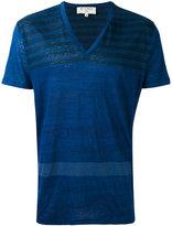 Etro stripe v-neck T-shirt - men - Linen/Flax - S