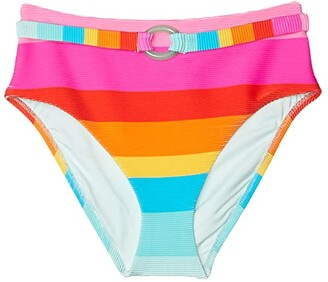 Trina Turk 25th Anniversary - Sunrise Stripe High-Waist Belt Hipster Bikini Bottoms (Multi) Women's Swimwear