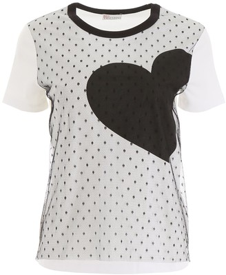RED Valentino Heart Print Lace Insert T-Shirt