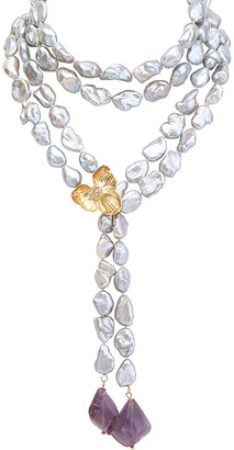 Michael Aram Orchid 18K Gemstone & 12Mm Pearl 34In Necklace