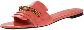 Burberry Coral Patent Leather Coleford Flat Slide Sandals Size 40
