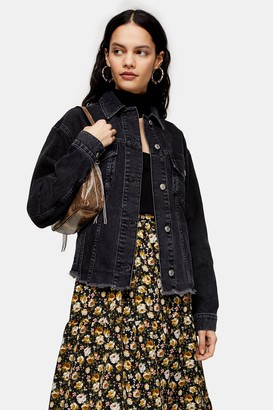 Topshop Womens Raw Hem Oversized Washed Black Denim Jacket - Washed Black
