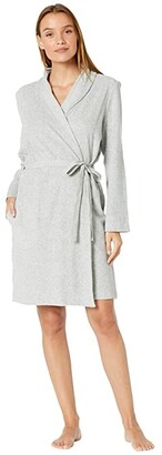 Skin Organic Cotton French Terry Robe with Attached Belt (Heather Grey) Women's Pajama
