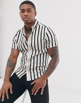 Asos Design DESIGN skinny stripe shirt in ecru-White