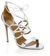 Aquazzura Gigi Metallic Leather Sandals