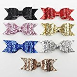 Large Gold Glitter Fabric Bow Hair Clip For Baby Girls Hair Accessories 7 pieces/lot