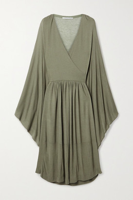 Agnona Wrap-effect Draped Stretch-knit Midi Dress - Army green