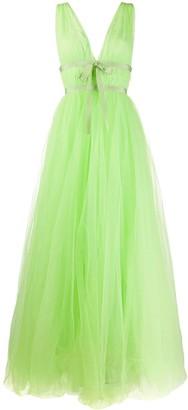 Brognano Empire-Line Tulle Maxi Dress