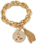 "RJ Graziano Let's Get Personal"" Crystal-Accented Goldtone Stretch Chain Initial Bracelet"