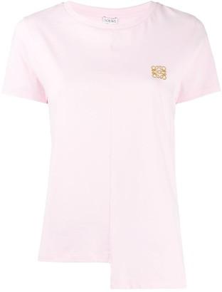 Loewe embroidered logo asymmetric hemline T-shirt