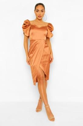 boohoo Satin Puff Sleeve Wrap Midi Dress