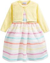 Blueberi Boulevard Patterned Stripe Print Dress with Shrug, Toddler & Little Girls (2T-6X)