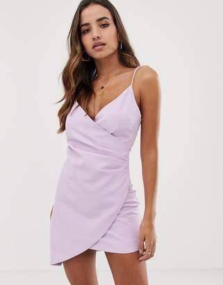 Club L London mini asymmetric cami strap mini dress in lilac-Purple