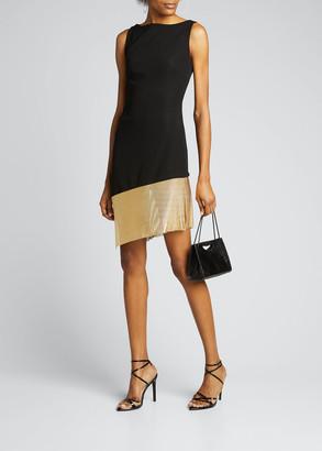 CDGNY Asymmetric Cutout Chainmail-Hem Cocktail Dress