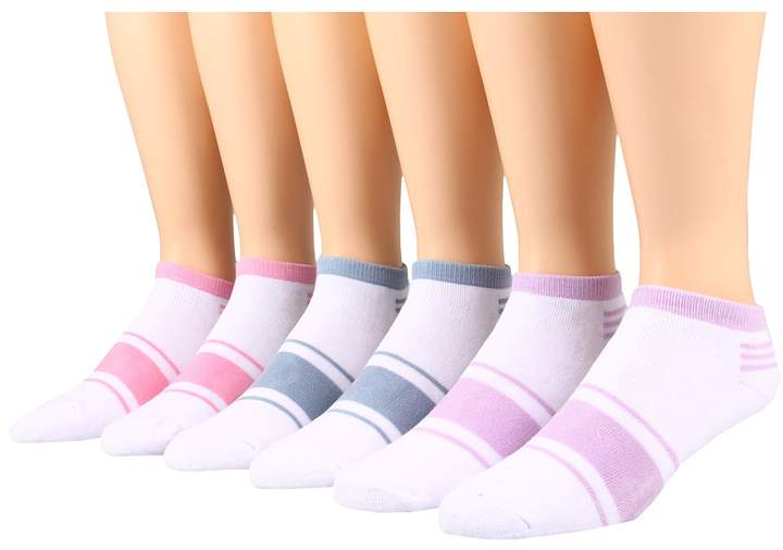 Ecco Socks - No Show w/ Stripe 6 Pack Women's Crew Cut Socks Shoes