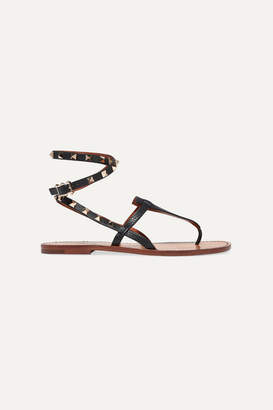 Valentino Garavani The Rockstud Textured-leather Sandals - Black