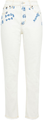 Maje Paoline Distressed Printed High-rise Straight-leg Jeans