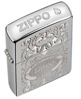 Zippo Crown Stamp High Polish Chrome Outdoor Indoor Windproof Lighter Free Custom Personalized Engraved Message Permanent Lifetime Engraving on Backside