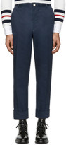 Thom Browne Navy Twill Classic Chino Trousers