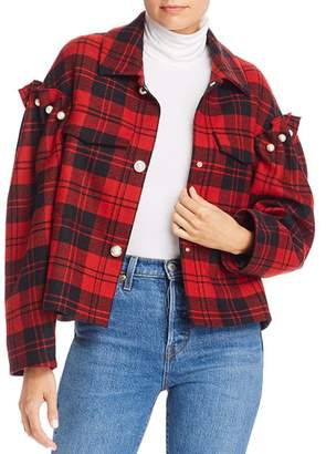 Mother of Pearl No Frills by Faux Pearl Plaid Wool Jacket