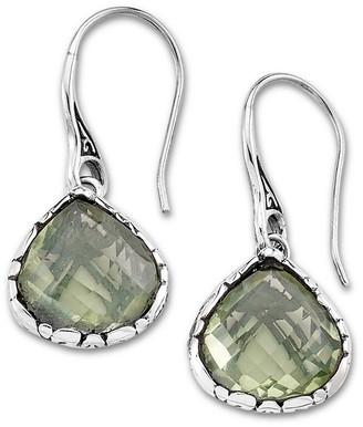 Samuel B. Sterling Silver Green Amethyst Checkerboard Earrings