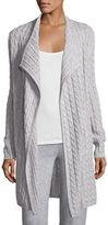 Neiman Marcus Cashmere Cable-Knit Drape Cardigan