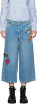 Kenzo Blue Embroidered Cropped Jeans