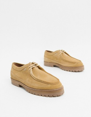 BEIGE House of Hounds comet lace up shoes in suede