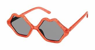 Sam Edelman Women's CC488 Glitter Lip-Shaped Sunglasses with 100% UV Protection 70 mm