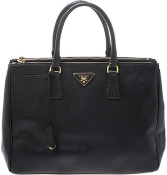 Prada Black Saffiano Lux Leather Medium Galleria Double Zip Tote