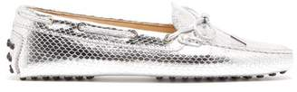 Tod's Gommini Python-embossed Leather Loafers - Womens - Silver
