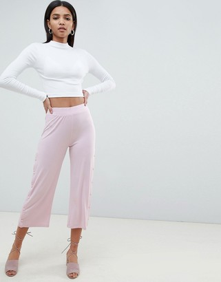 ASOS DESIGN cropped pants with popper detail