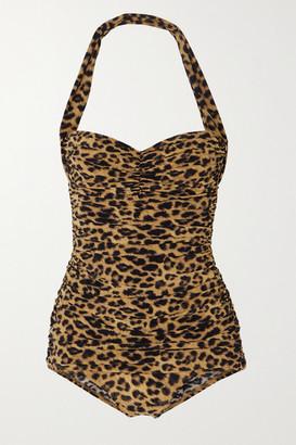 Norma Kamali Bill Mio Ruched Leopard-print Halterneck Swimsuit