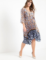 ELOQUII Mixed Print Dress with Pleated Skirt