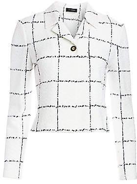 St. John Women's Herringbone Grid Knit Jacket - Size 0