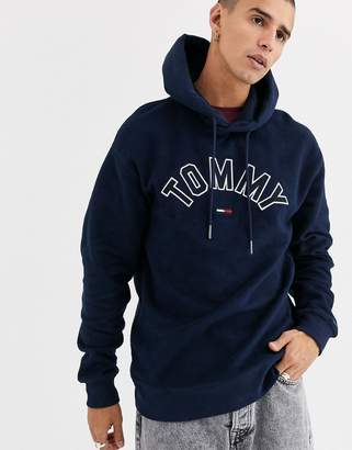 Tommy Jeans overhead hoodie in navy with large chest logo in navy
